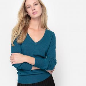 Пуловер с V-образным вырезом, 100% кашемира La Redoute Collections. Цвет: сине-зеленый