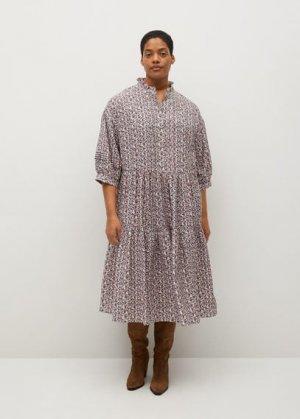 Струящееся платье с принтом - Elsa Mango. Цвет: грязно-белый