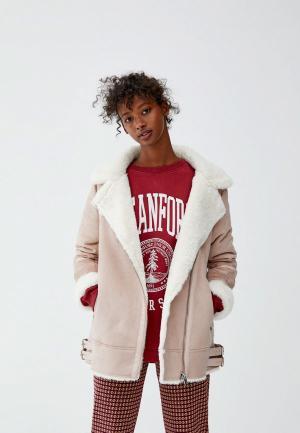 Куртка кожаная Pull&Bear. Цвет: розовый