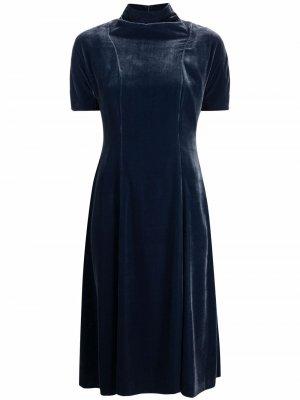 Бархатное платье миди Aspesi. Цвет: синий
