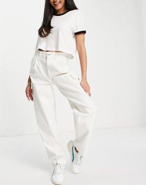 Белые чиносы с карманами в стиле карго и складками спереди -Белый ASOS DESIGN
