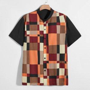 Мужской Рубашка Контрастный на пуговицах с коротким рукавом SHEIN. Цвет: многоцветный