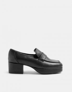 Черные кожаные лоферы на платформе и каблуке -Черный цвет Topshop
