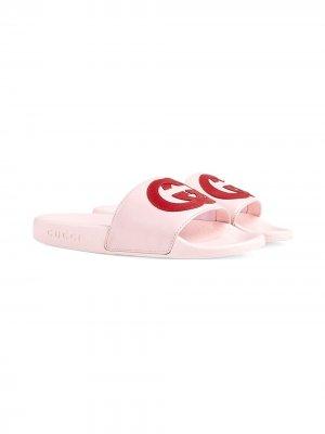 Шлепанцы с логотипом Interlocking G Gucci Kids. Цвет: розовый