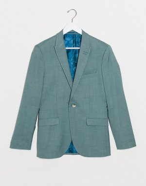 Зеленый однобортный пиджак зауженного кроя -Зеленый цвет Topman