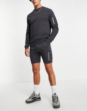 Черный спортивный костюм из свитшота и зауженных шорт с карманом MA1 -Черный цвет ASOS DESIGN