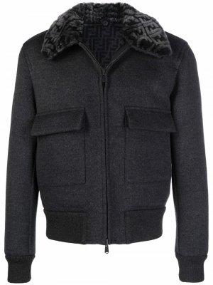 FF-collar reversible faux-shearling jacket Fendi. Цвет: серый