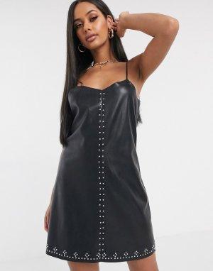 Платье-комбинация из искусственной кожи Blank NYC-Черный NYC
