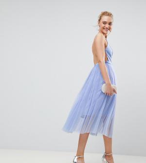 Премиум-платье миди с юбкой из тюля ASOS TALL-Синий Tall