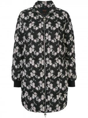 Куртка-пуховик с цветочным принтом Giambattista Valli. Цвет: черный