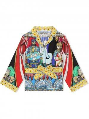 Рубашка с принтом и заостренным воротником Dolce & Gabbana Kids. Цвет: синий