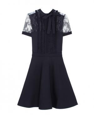 Платье с кружевом Valentino. Цвет: черный