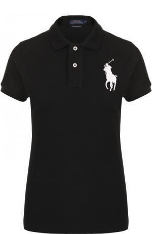 Хлопковое поло с вышитым логотипом бренда Polo Ralph Lauren. Цвет: черный
