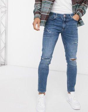 Синие джинсы скинни с рваной отделкой -Синий River Island