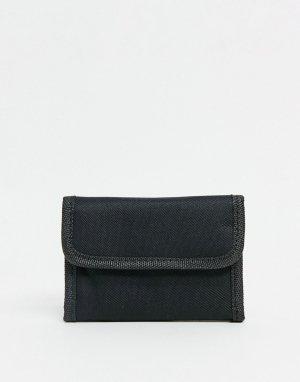 Черный бумажник с застежкой на липучку -Черный цвет SVNX