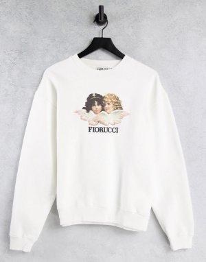 Белый свитшот с винтажным принтом ангелов Fiorucci