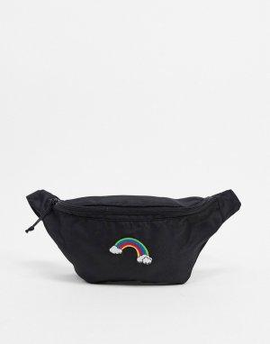 Черная сумка-кошелек на пояс с вышивкой в виде радуги -Черный ASOS DESIGN