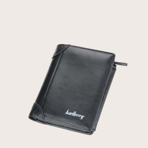 Маленький кошелек для мужчин с текстовым рисунком SHEIN. Цвет: чёрный