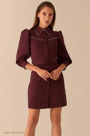 Короткое платье с рукавами-фонариками и акцентным воротничком LOVE REPUBLIC