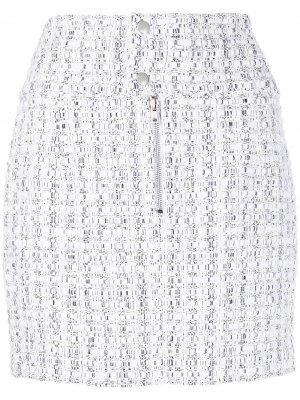 Твидовая юбка мини IRO. Цвет: белый
