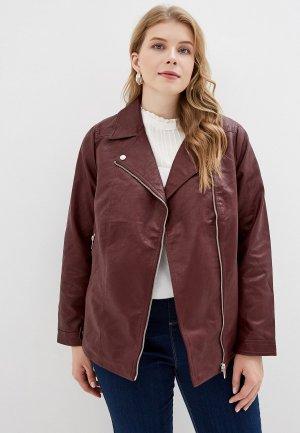 Куртка кожаная Dorothy Perkins Curve. Цвет: бордовый
