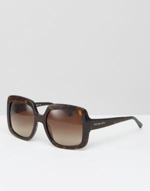 Солнцезащитные очки в квадратной черепаховой оправе Michael Kors. Цвет: коричневый