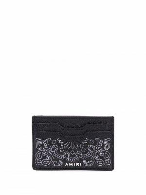 Картхолдер с вышивкой AMIRI. Цвет: черный