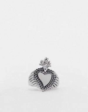Серебристое кольцо-печатка с дизайном в виде сердца и пламени -Золотой Topman