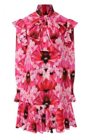 Шелковое платье Alexander McQueen. Цвет: розовый