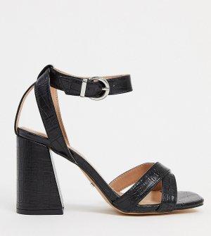 Черные босоножки на каблуке для широкой стопы -Черный Topshop