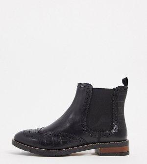 Черные кожаные ботинки челси для широкой стопы -Черный Dune