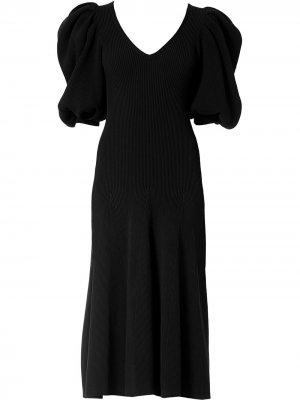 Платье в рубчик с пышными рукавами Carolina Herrera. Цвет: черный