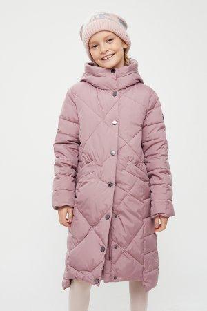 Пальто для девочки Finn-Flare. Цвет: серо-розовый