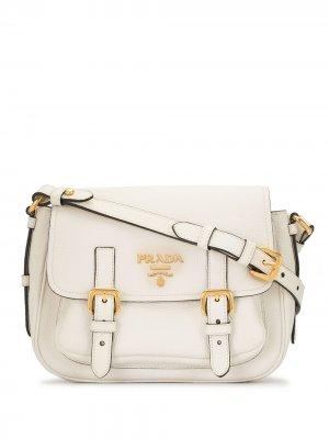 Сумка через плечо с логотипом Prada Pre-Owned. Цвет: белый