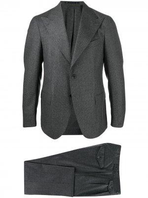 Костюм с однобортным пиджаком Bagnoli Sartoria Napoli. Цвет: серый