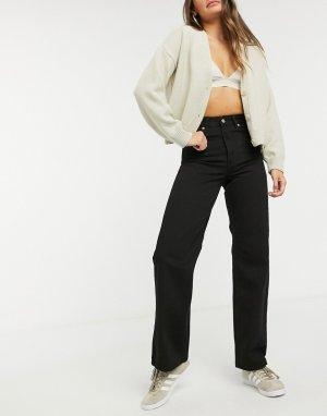 Черные широкие джинсы с завышенной талией -Черный Dr Denim