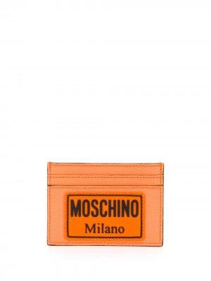 Картхолдер с нашивкой-логотипом Moschino. Цвет: оранжевый