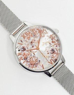 Часы с серебристым сетчатым браслетом и абстрактным цветочным декором OB16VM46-Серебряный Olivia Burton