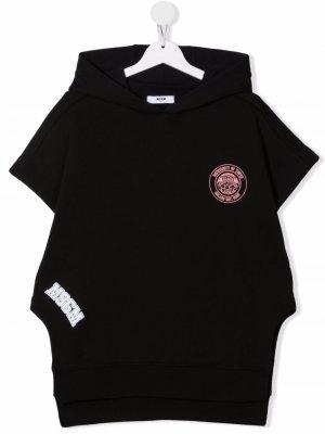 TEEN logo-print short-sleeved hoodie MSGM Kids. Цвет: черный
