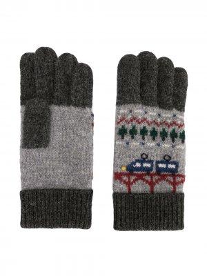 Перчатки вязки интарсия Familiar. Цвет: серый