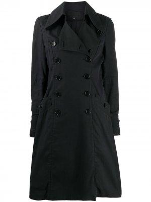 Двубортное пальто 1990-х годов с оборками Helmut Lang Pre-Owned. Цвет: синий