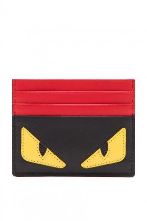 Красно-черный картхолдер Bag Bugs Fendi. Цвет: черный