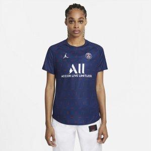 Женская предматчевая игровая футболка с коротким рукавом из домашней формы ФК «Пари Сен-Жермен» - Синий Nike