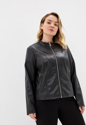 Куртка кожаная Elena Miro. Цвет: черный