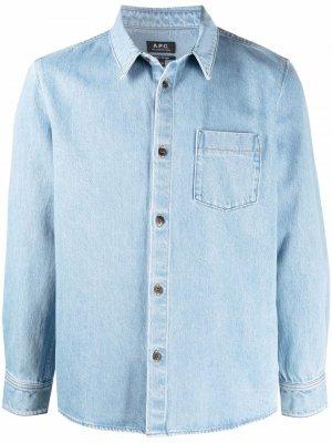 Джинсовая рубашка с карманом A.P.C.. Цвет: синий