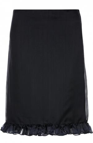 Шелковая юбка-миди с оборками Aquilano Rimondi. Цвет: темно-синий