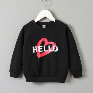 Для девочек Свитшот с принтом буквы и сердечка SHEIN. Цвет: чёрный