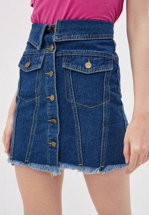 Юбка джинсовая Nerouge. Цвет: синий