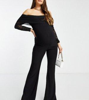 Черный комбинезон для беременных с длинными рукавами и открытыми плечами Club L London Maternity