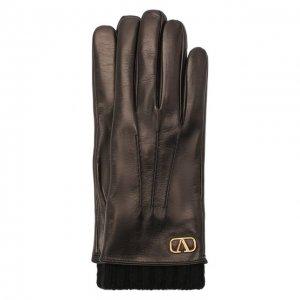 Кожаные перчатки Garavani Valentino. Цвет: чёрный